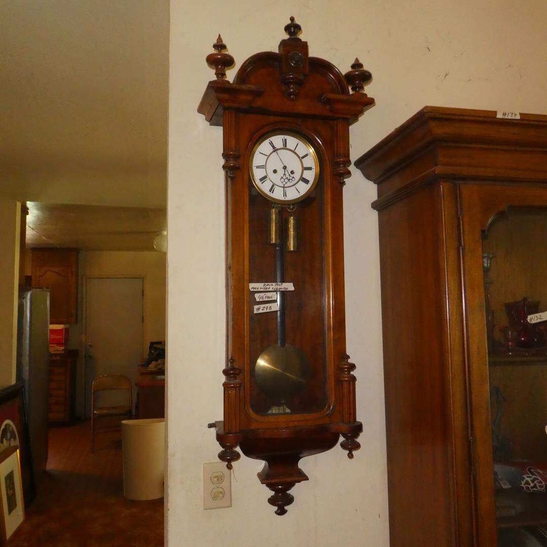 Lot # 298 - Vintage Weighted Pendulum Wall Clock - Runs But May Need Cleaned (main image)