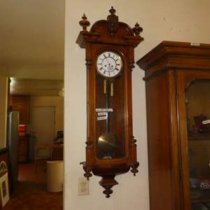Lot # 298 - Vintage Weighted Pendulum Wall Clock - Runs But May Need Cleaned