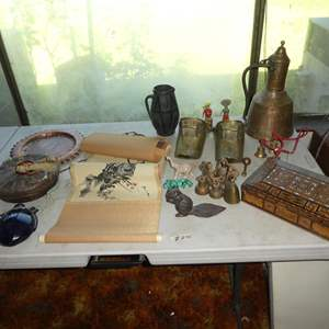 Lot # 300 - Copper Plate, Chinese Basket w/Buttons, Cobalt Blue Glass Bottle, Stone Figurines, Brass Dutch Shoes, Bells & More