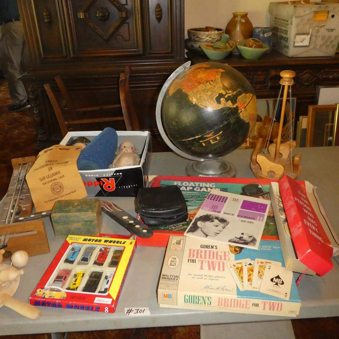 Lot # 301 - Vintage Children's Toys, Cards, Games, Bride & Groom Kewpie Dolls, World Globe & Disney VHS Tapes (main image)