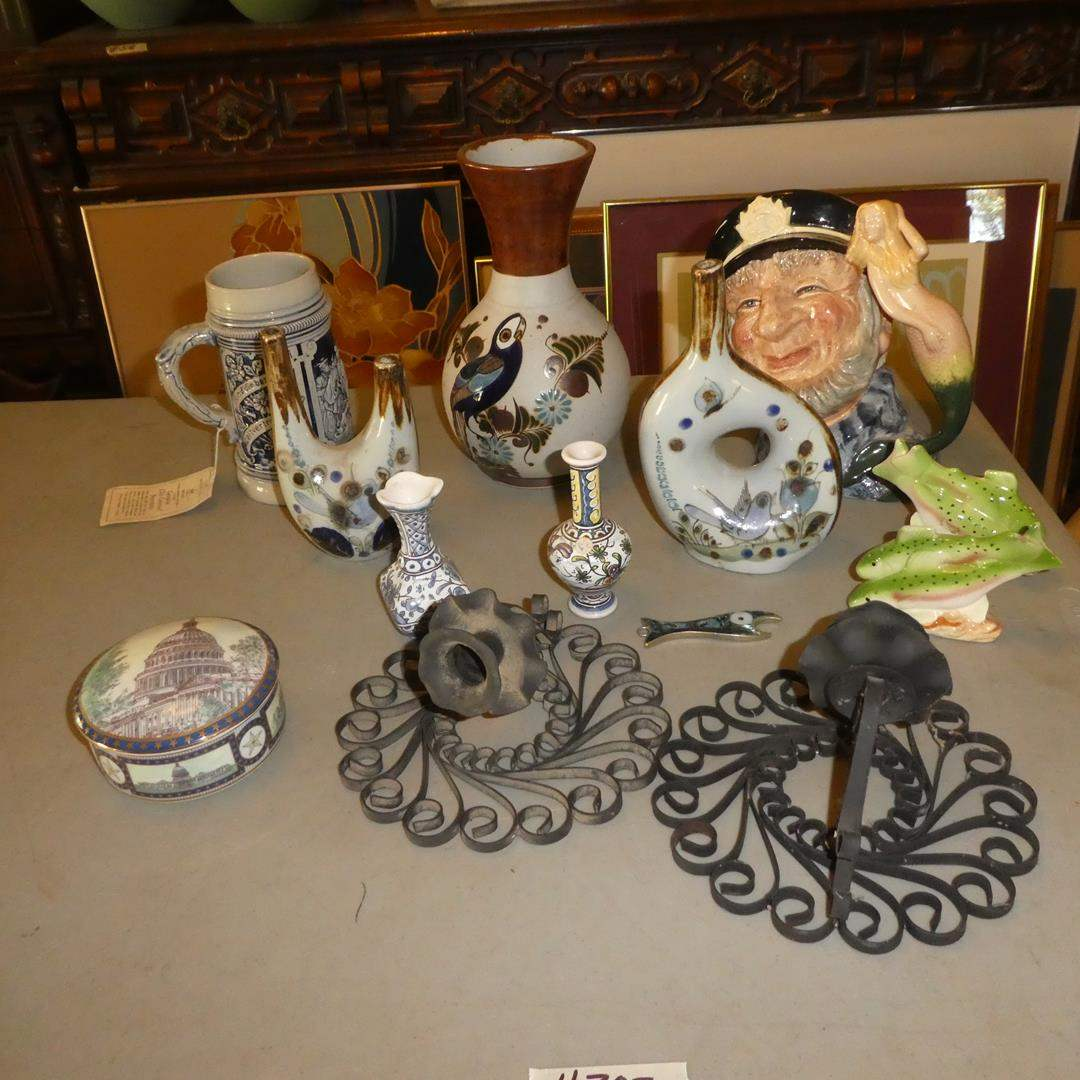 Lot # 302 - United States Congress Trinket Dish, German Beer Stein, Mexican Pottery, Royal Doulton Old Salt Mug & Candle Holders (main image)