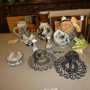 Lot # 302 - United States Congress Trinket Dish, German Beer Stein, Mexican Pottery, Royal Doulton Old Salt Mug & Candle Holders