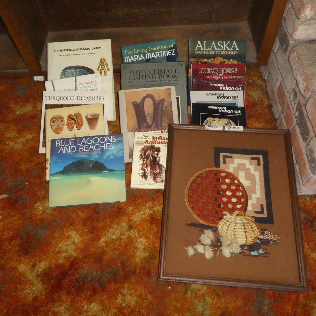 Lot # 307 - Native American Needlepoint Picture, American Indian & Other Books (main image)