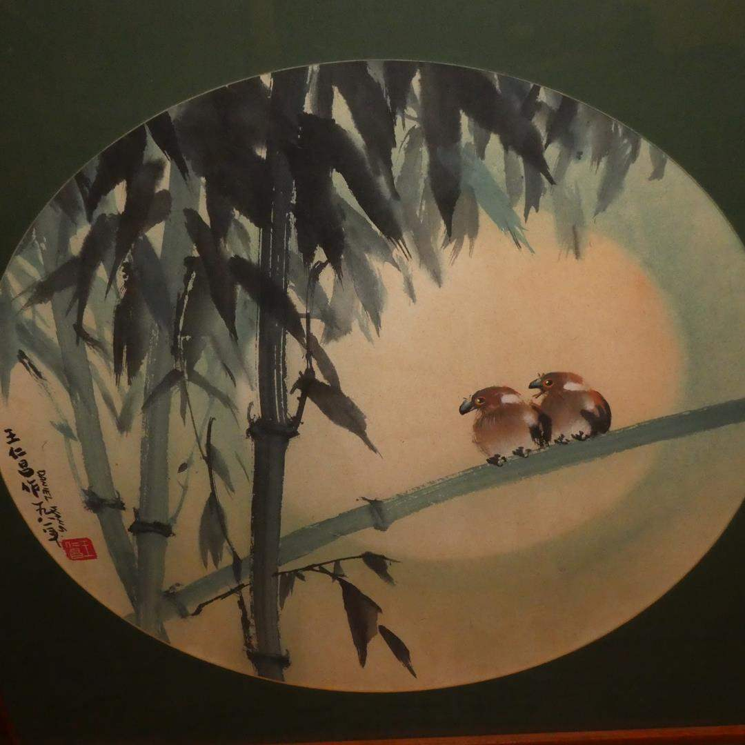 """Lot # 309 - Framed Original Chinese Watercolor Painting """"Love Birds on Bamboo"""" by Daniel Wang (main image)"""