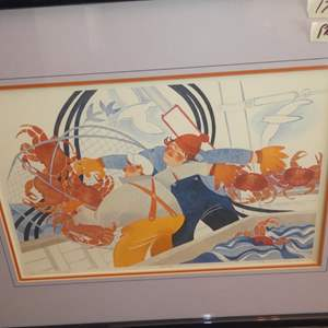 """Lot # 313 - 1982 Framed Signed Numbered Limited Edition Print """"Hauling in Crabs"""" by Rie Munoz 23/750"""