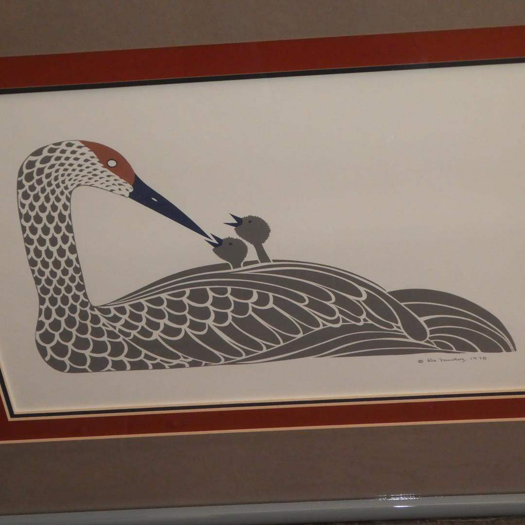 """Lot # 314 - Framed 1978 Rie Munoz """"Crane With Young"""" Print (main image)"""