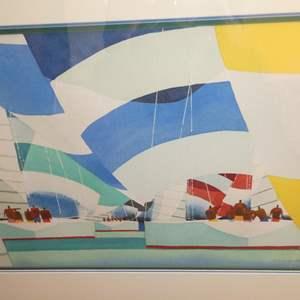 Lot # 316 - Framed Signed Sailboats Print