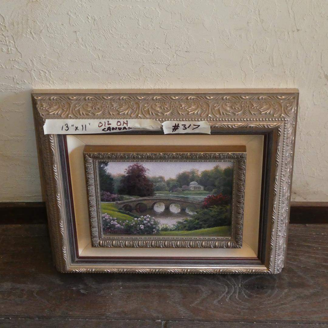 """Lot # 317 - Beautifully Framed Oil on Canvas """"Sourhead Garden"""" by Charles White (main image)"""