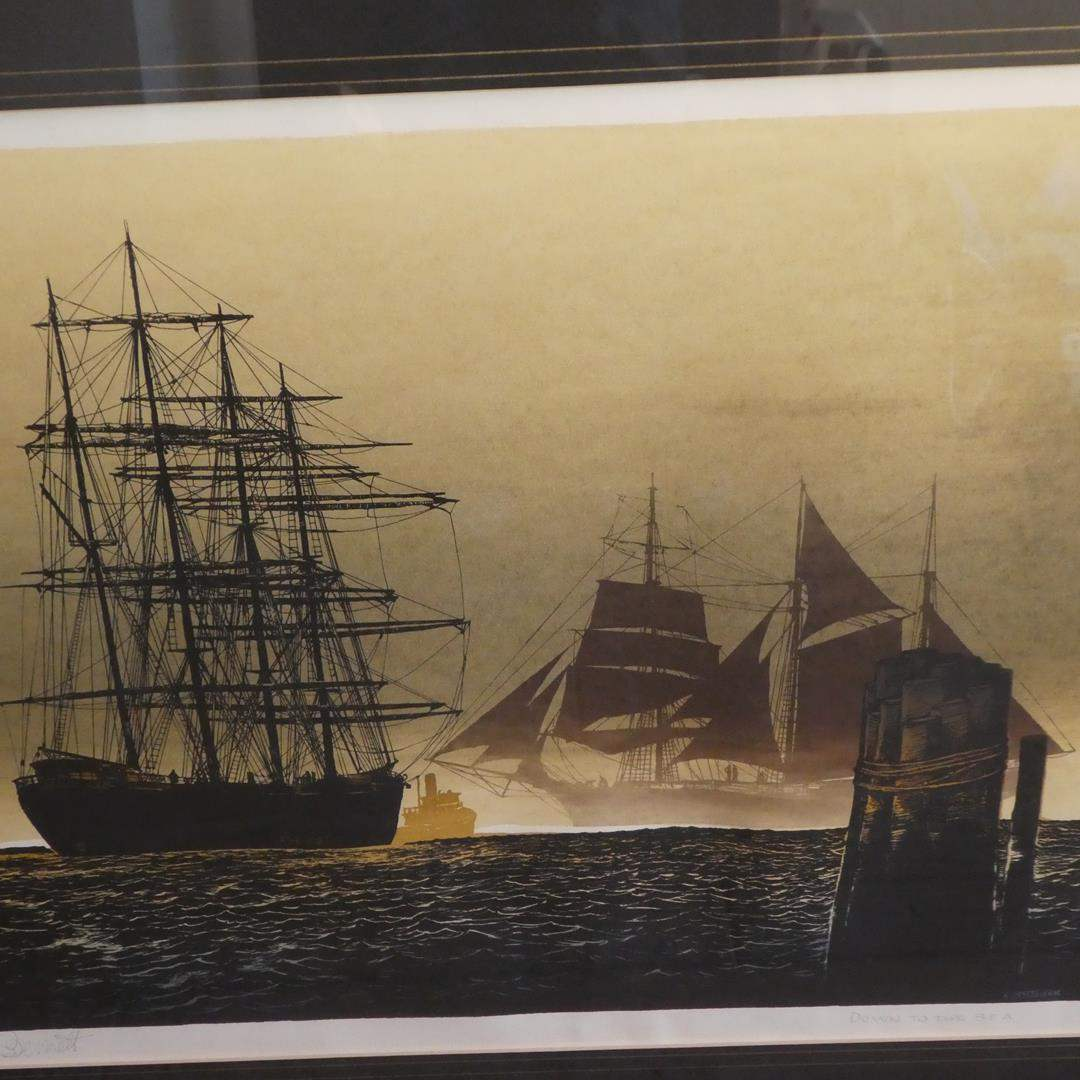 """Lot # 324 - Framed Signed Lithograph """"Down To The Sea"""" by Bennett (main image)"""