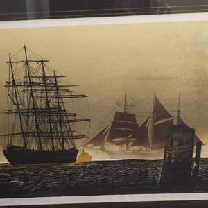 """Lot # 324 - Framed Signed Lithograph """"Down To The Sea"""" by Bennett"""