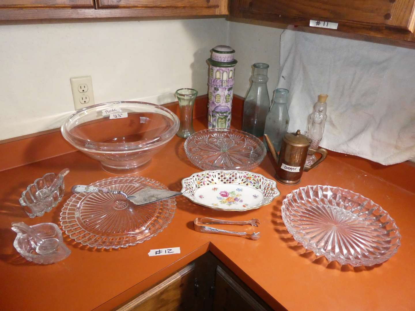 Lot # 12 - Glass Serving Dishes With Misc. (main image)