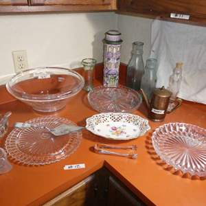 Lot # 12 - Glass Serving Dishes With Misc.