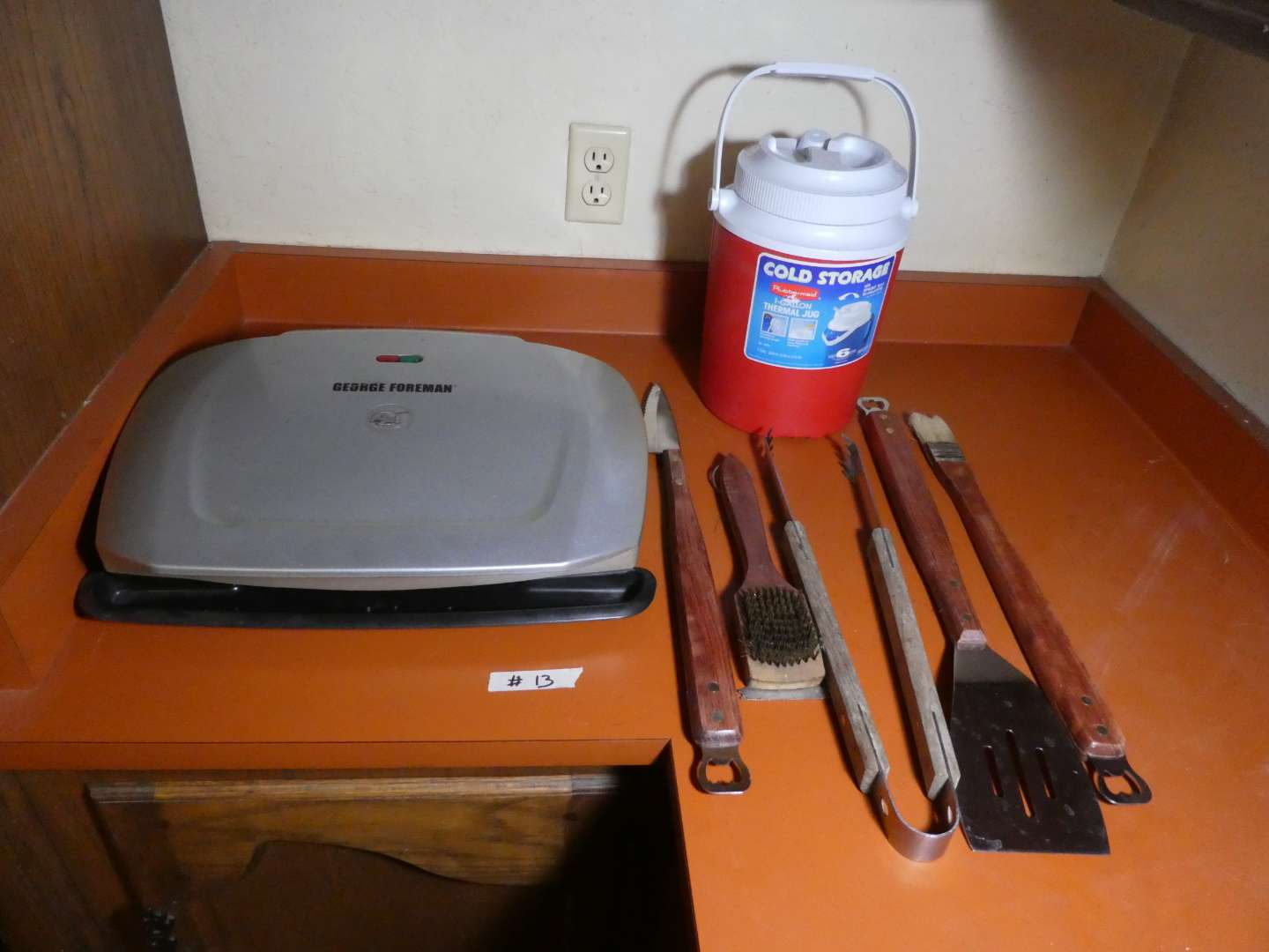 Lot # 13 - George Foreman Grill, Outdoor BBQ Tools, Rubbermaid Thermal Jug (main image)