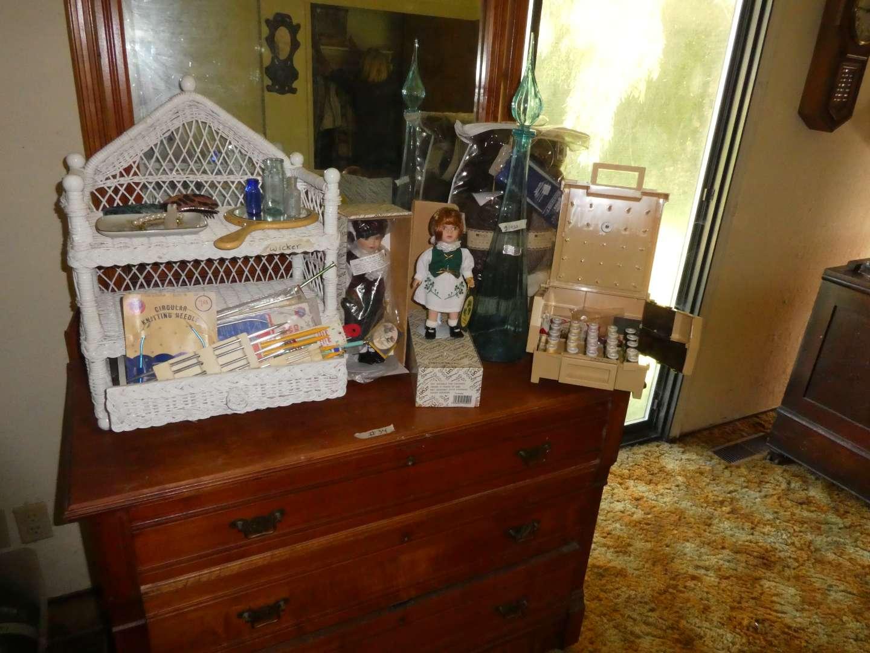 Lot # 34 - Alberon Collectors Dolls, Wicker Shelf, Kitting Supplies, Large Blue Decanter  (main image)
