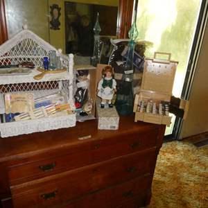 Lot # 34 - Alberon Collectors Dolls, Wicker Shelf, Kitting Supplies, Large Blue Decanter
