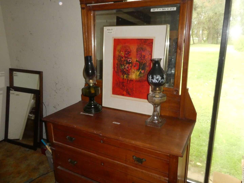 Lot # 38 -Beautiful Framed Print and Kerosene Lamps (main image)