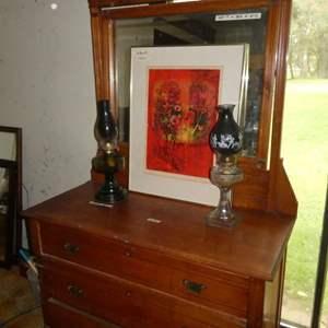 Lot # 38 -Beautiful Framed Print and Kerosene Lamps