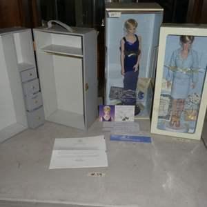 Lot # 39 - Jackie Kennedy Wardrobe Trunk And Porcelain Princess Diana Dolls
