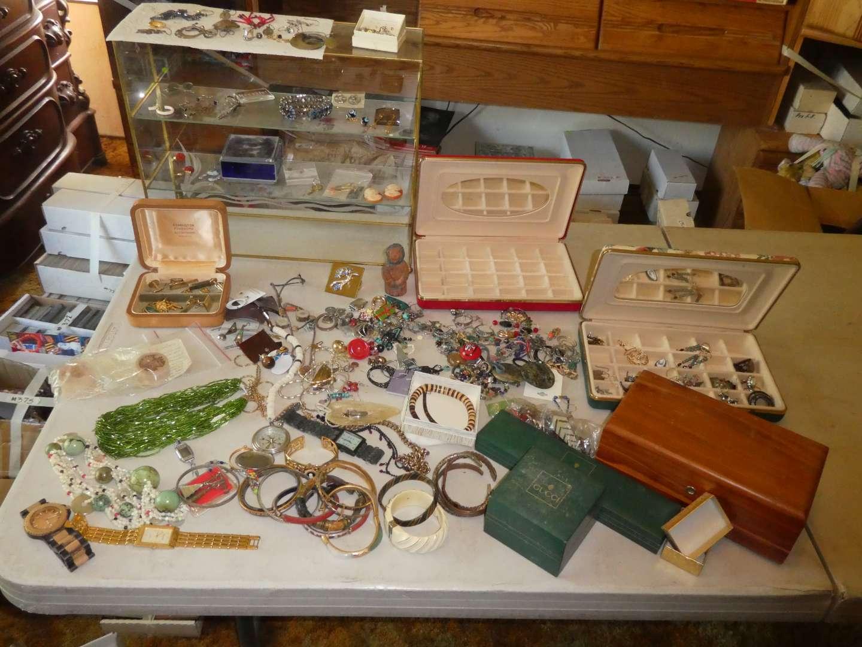 Lot # 380- Costume Jewelry And Glass Shelf (main image)