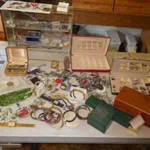 Lot # 380- Costume Jewelry And Glass Shelf
