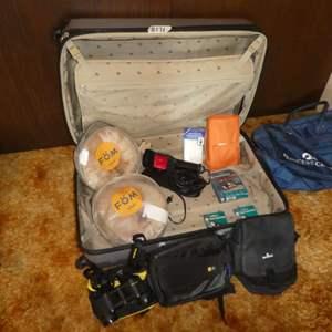 Lot # 171 - Travel Lot - Heys HardShell Luggage, Neck Pillows, Travel Steamer, Binoculars and MORE