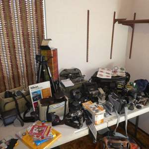 Lot # 173 - Huge Camera Lot- Variety of Lenses, Cameras, Bags, Tripod and More (See all Photos)