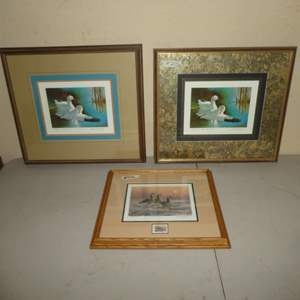 """Lot # 205-Three Signed Prints-2-""""Ross Geese"""" Stamp Design By Edward J. Beirly & """"Waterfowl"""" Stamp Design & Stamp By Darrel Davis"""