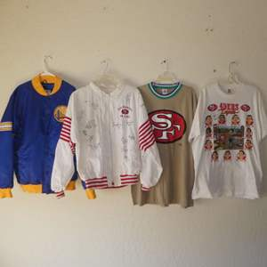 Lot # 231 -49er's Signed Jacket (Team, Coaches &Trainers), Golden State Warriors Bomber Jacket, 49er's T-Shirts w/ Signatures