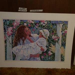 Lot # 386- Lithograph Of A Woman Holding A Child