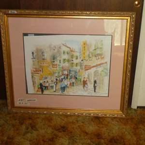 Lot # 387- Large Watercolor Serigraph