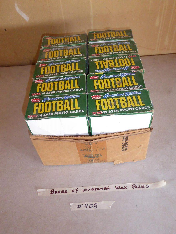Lot # 408 - 10 Boxes 1990 Fleer Football Unopened Wax Packs (main image)