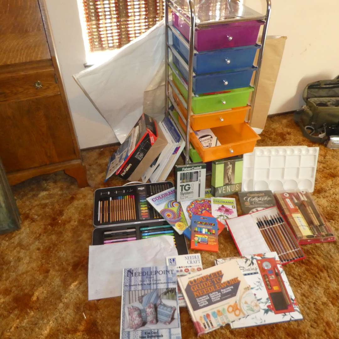 Lot # 150 -Arts and Crafts Lot - Coloring Books, Paint Brushes, Pens, Pencils, Calligraphy Pens, Construction Paper and More!  (main image)