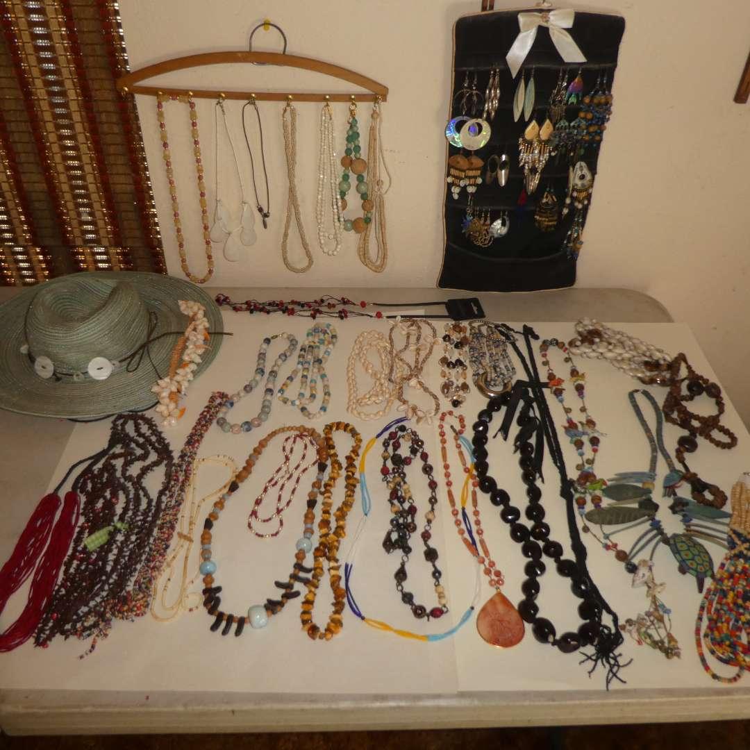 Lot # 154 - Assortment of Beaded & Stone Necklaces, Unique Dangle Earrings & Sun Hat (main image)