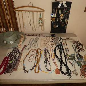 Lot # 154 - Assortment of Beaded & Stone Necklaces, Unique Dangle Earrings & Sun Hat
