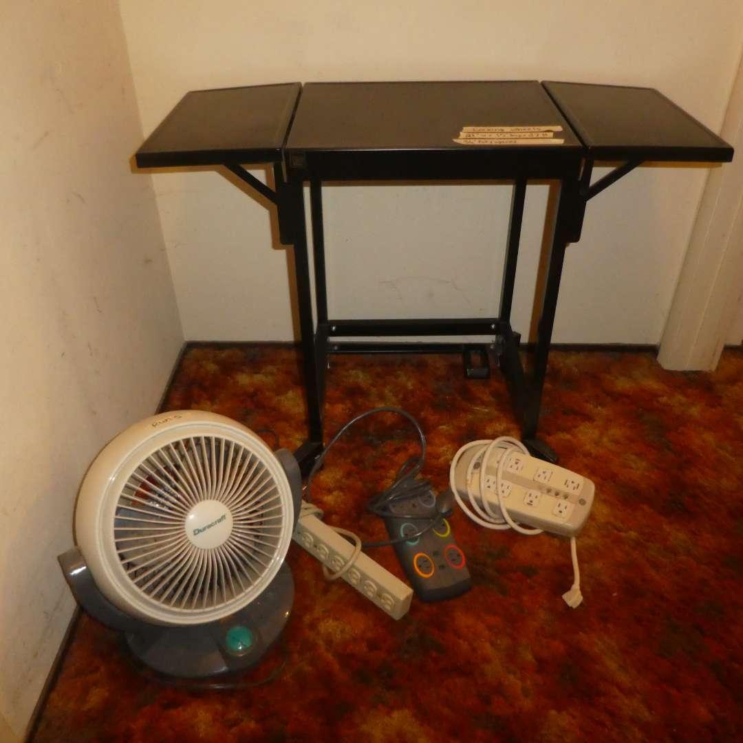 Lot # 157 - Small Rolling Utility Table (Folding Sides) w/ Fan & Power Strips  (main image)