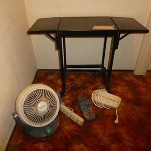 Lot # 157 - Small Rolling Utility Table (Folding Sides) w/ Fan & Power Strips