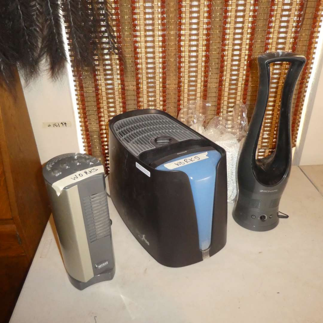 Lot # 160 - Honeywell GermFree Humidifier, Bionaire Table Fan and Seville Table Fan  (main image)