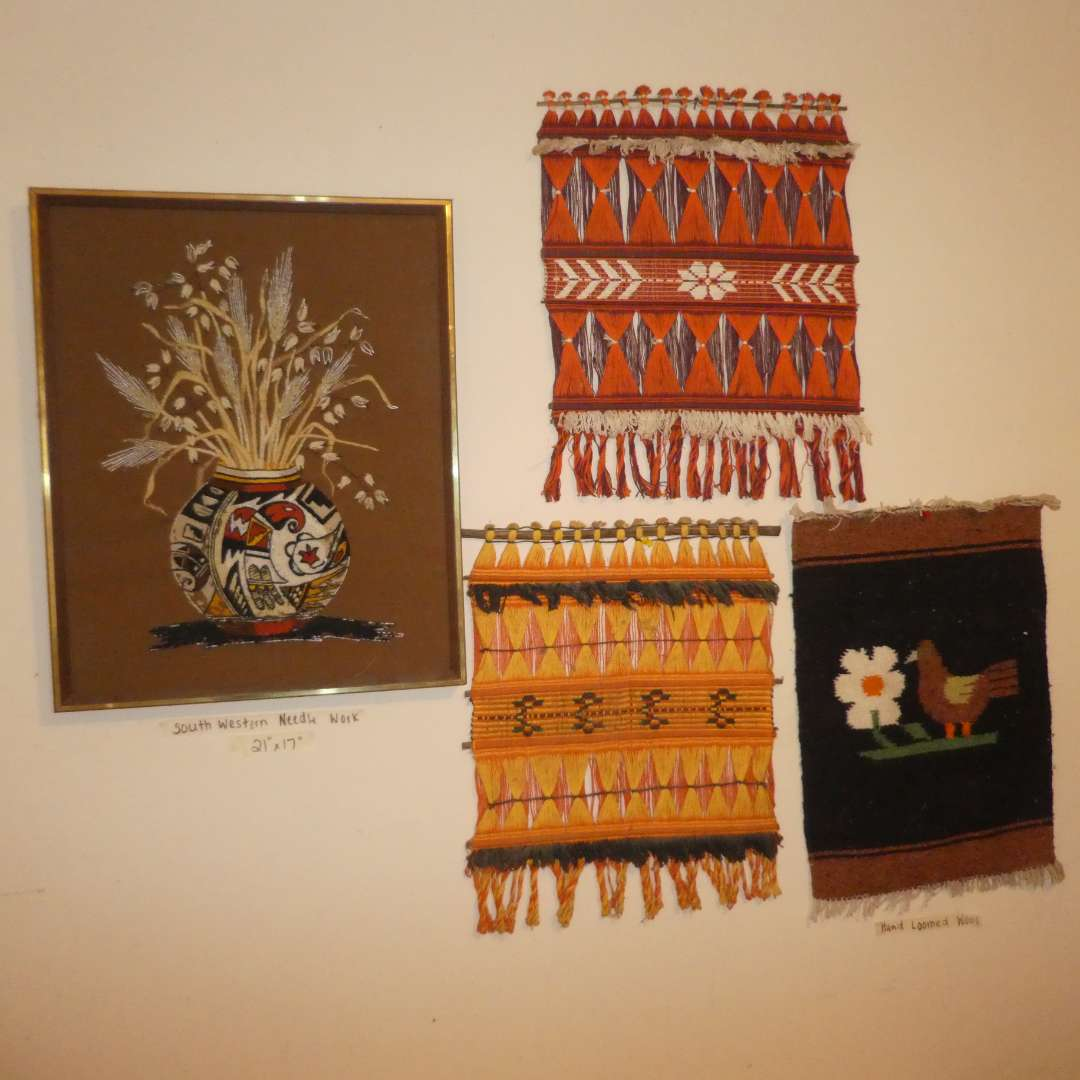 Lot # 161 - Vintage Hand Loomed Wall Art & South Western Needle Work (main image)