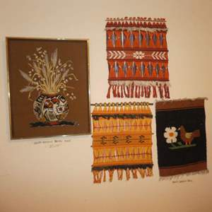 Lot # 161 - Vintage Hand Loomed Wall Art & South Western Needle Work