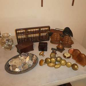Lot # 164 - Collectibles Lot - Rocks, Pocket Watch, Bookends, Ink Well, Door Knobs and MORE!