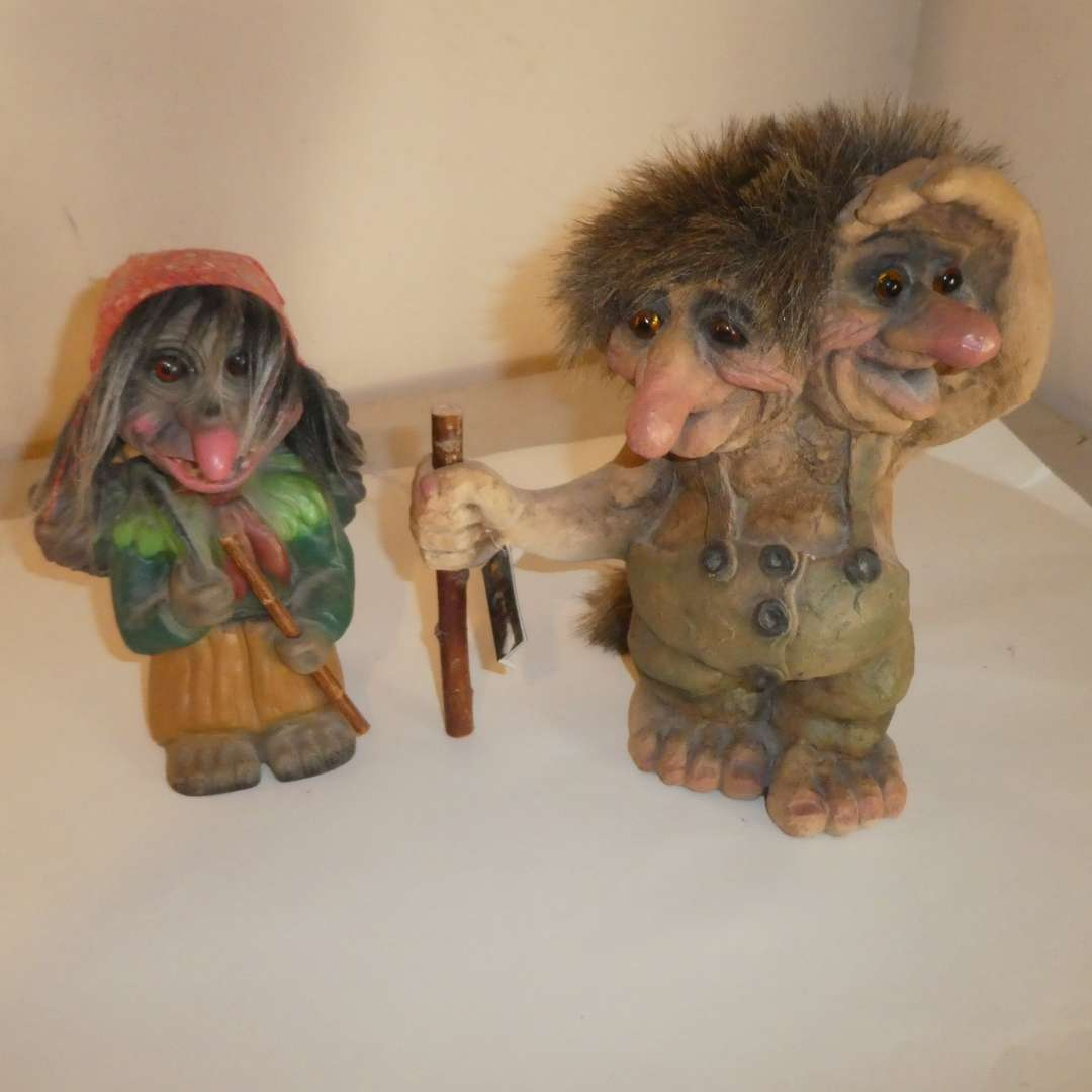 Lot # 166 - Vintage NyForm Double Headed Troll Made in Norway w/ Tag & Vintage Heico Troll (Bobblehead) (main image)