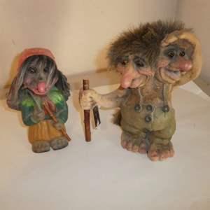 Lot # 166 - Vintage NyForm Double Headed Troll Made in Norway w/ Tag & Vintage Heico Troll (Bobblehead)