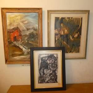 Lot # 168 - Three Originals By Long Time Anderson High School Art Teacher/Artist Ray Handle
