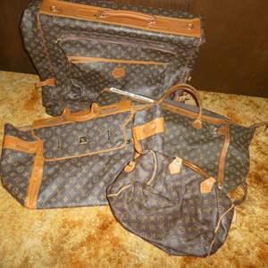 Lot # 172 - Louis Vuitton Purse, Two Duffles & Garment Bag (Authenticity Unknown)