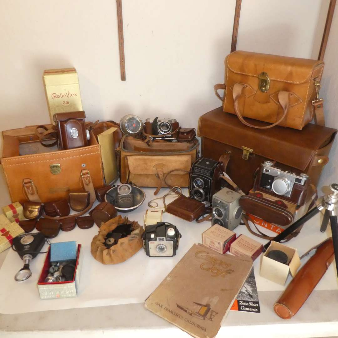 Lot # 175 - Huge Vintage Camera Lot- RolleiFlex, RolleiCord, Contax, Kodak, Bags, Lenses and More (See all Photos) (main image)