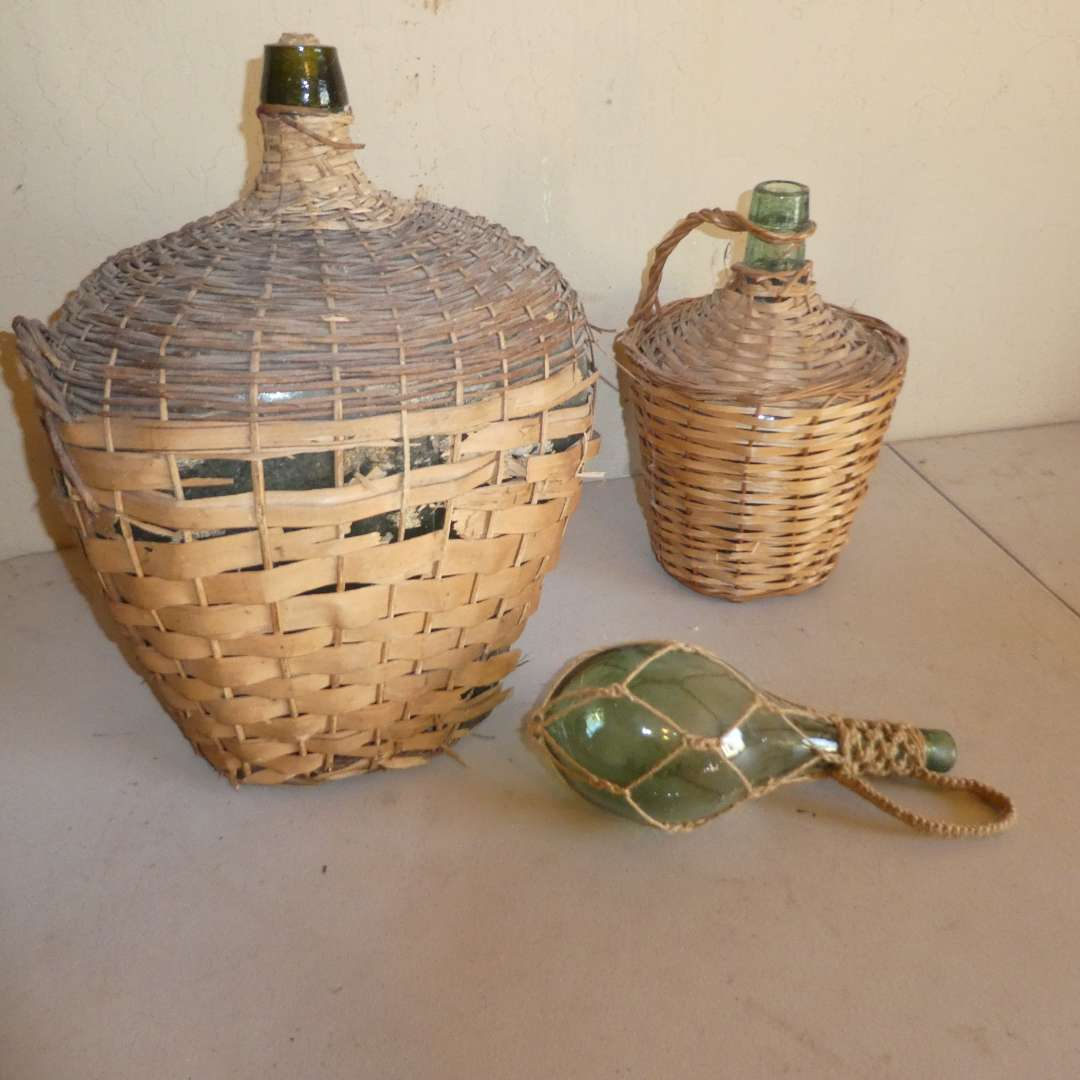 Lot # 191 - Antique Wicker Wrapped Demijohns (See all Photos) (main image)