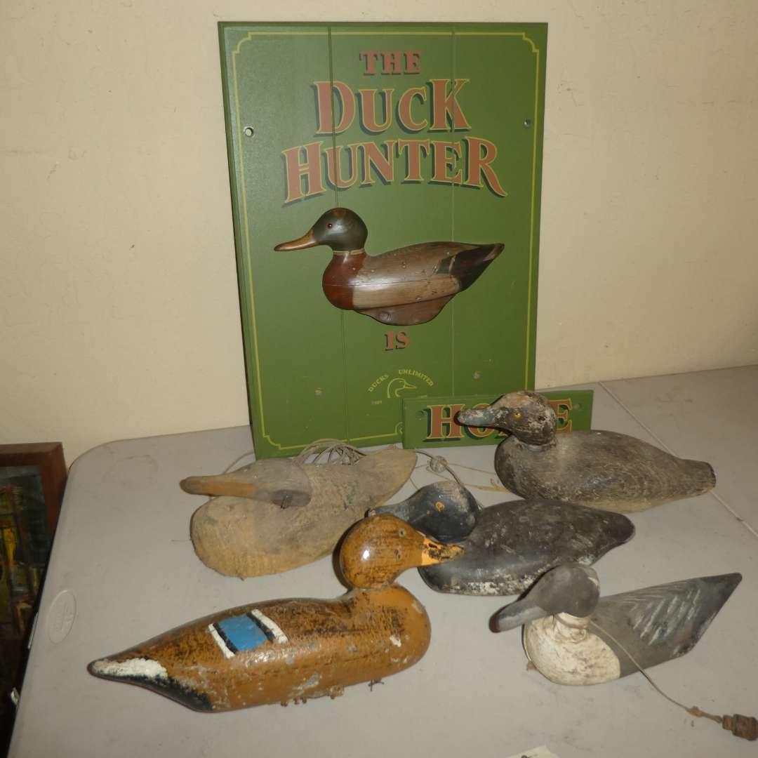 Lot # 193 - Antique Duck Decoys & Ducks Unlimited Sign (main image)