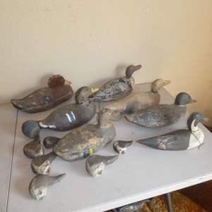 Lot # 194 - Antique Duck Decoys & Misc. Duck Decoy Heads