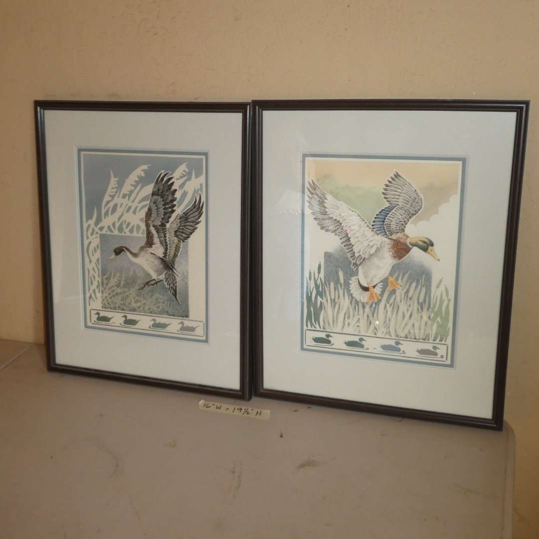 Lot # 203 - Two Framed Duck Prints By Joann George  (main image)