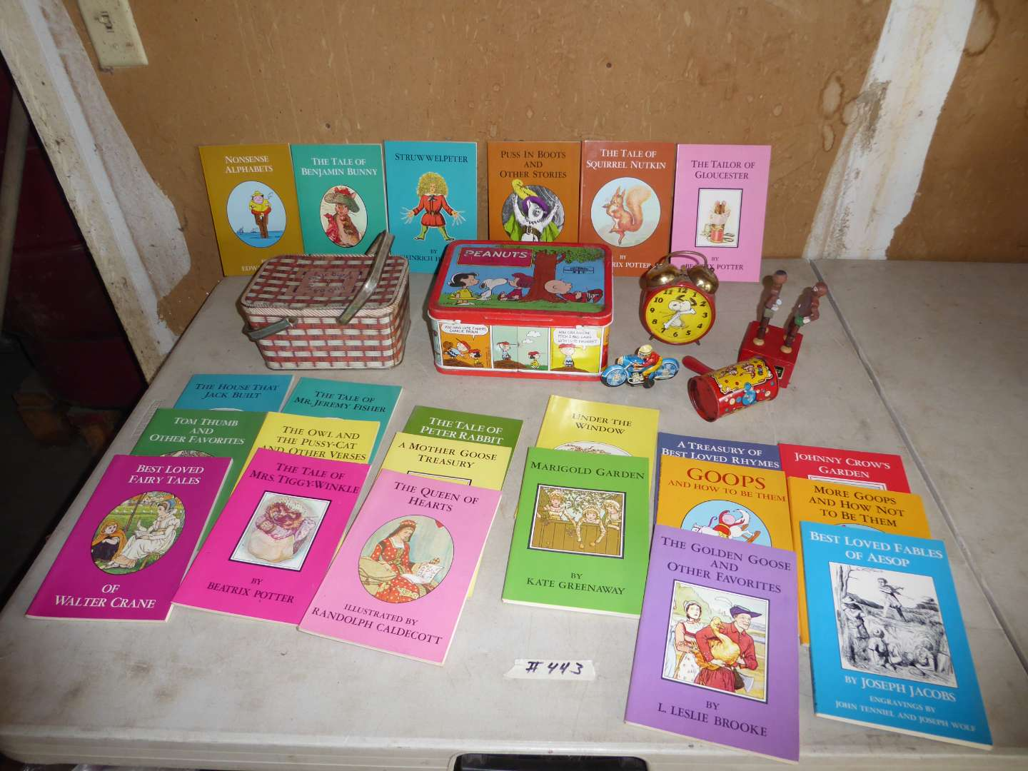 Lot # 443 - Vintage Children's Books, Toys, Snoopy Clock, Lunch Box and Greyhound Bus  (main image)